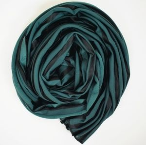 2/$30 green and black pleated scarf accessories